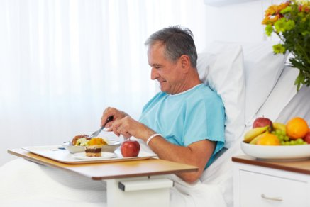 Patient eating Hospital food