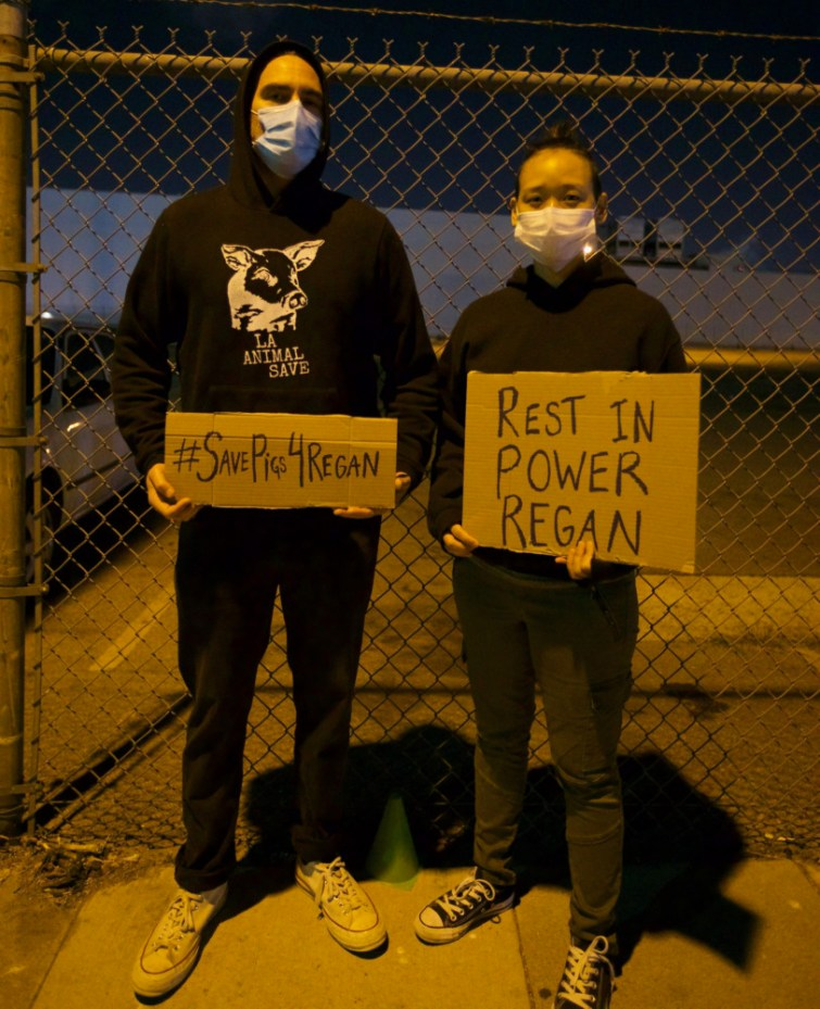 Joaquin Phoenix Pays Tribute to Slain Activist at Slaughterhouse Vigil