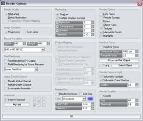 render options dialog box