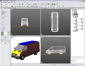 3D rendering four views