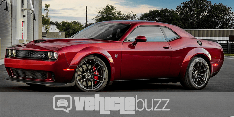 Sideview of red 2018 Dodge Challenger SRT Hellcat Widebody