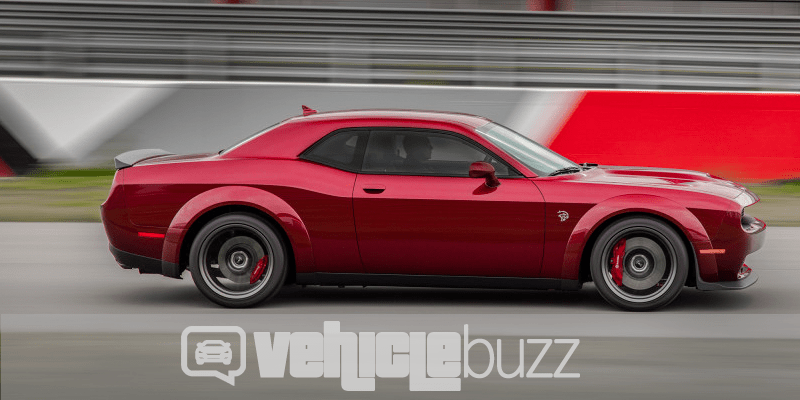 Photo of red 2018 Dodge Challenger SRT Hellcat Widebody on the track