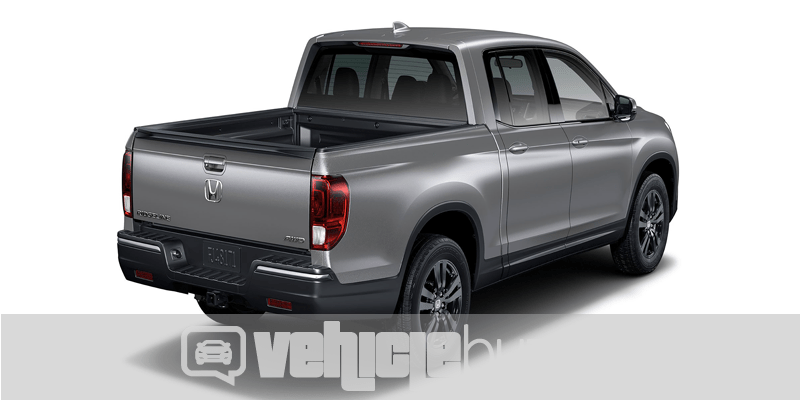 Photo realistic rendering of gray 2018 Honda Ridgeline from the back