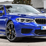 Front view closeup of blue 2018 BMW M5