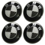 Black Carbon Fiber Hood Trunk Wheel Center Cap Steering Emblem 7 Pcs Set Vehicle Parts Shop