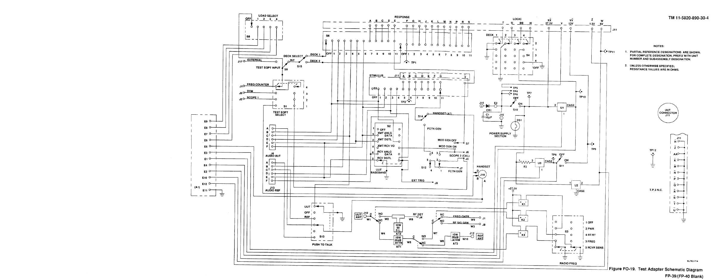 FIGURE FO-19. TEST ADAPTER SCHEMATIC DIAGRAM