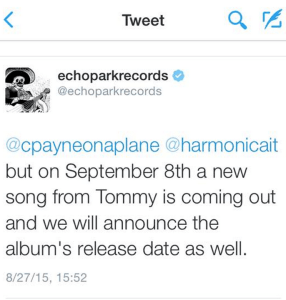 Screenshot of a tweet with Chromatics news.