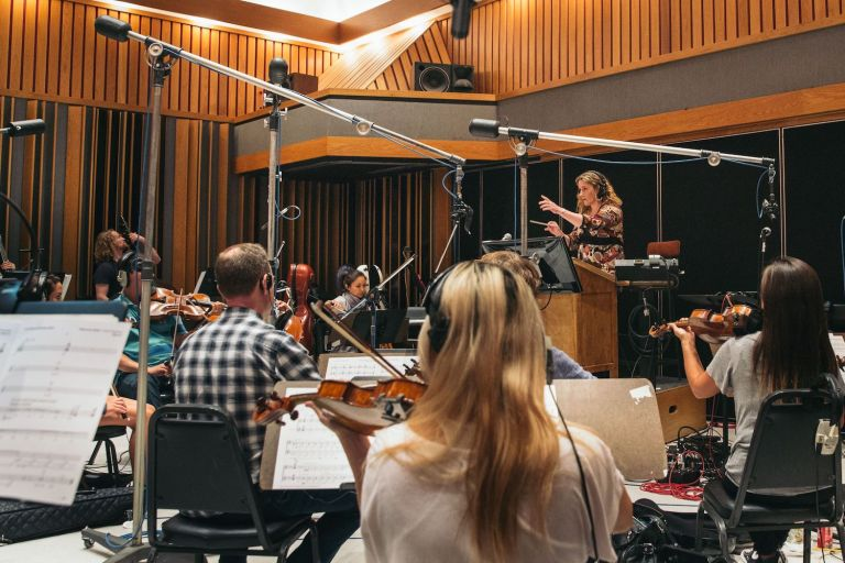 Ronit Kirchman in the studio, at work on the score for The Sinner with her team.