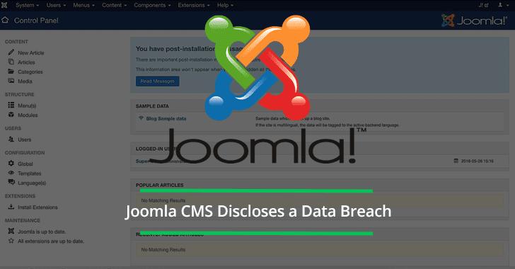 Joomla Team Discloses Data Breach – 2,700 Individuals Were Affected