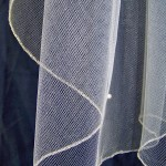 Pencil Edge veil in silver metallic thread