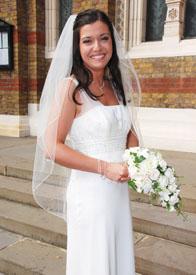 pencil edge wedding veil