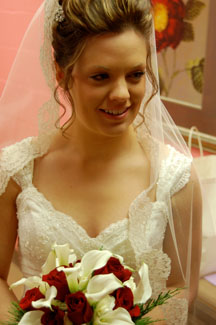 Fingertip lace mantilla wedding veil