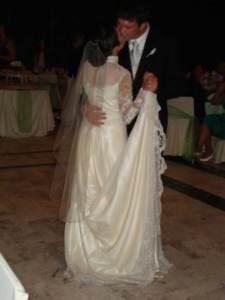 Waltz length veil in mantilla style