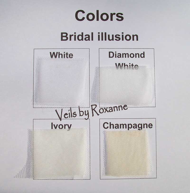 White Diamond Ivory Or Champagne Bridal Illusion Veils