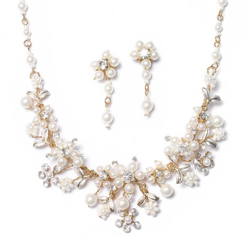 Gold Bridal Jewelry Set Pearl Crystal Necklace Earrings