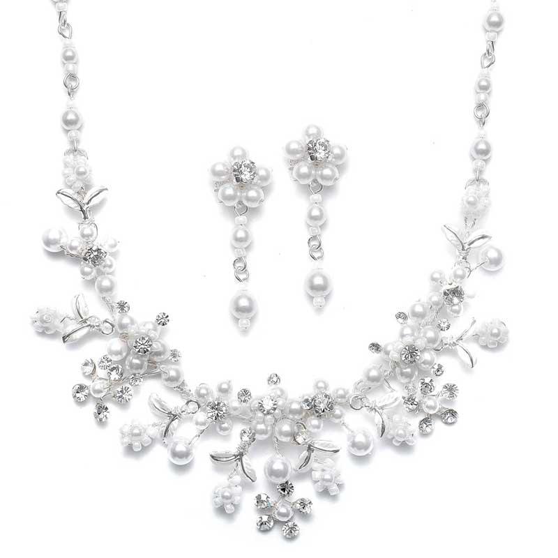 Wedding Tiara and Bridal Jewelry Set Silver White Pearl T005 ...