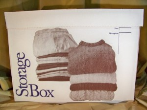 front view of clothing storage box