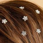 rhinestone flower hair spirals