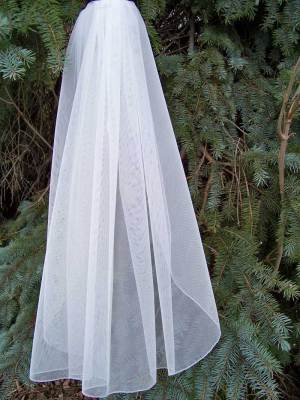 silver edge English net wedding veil