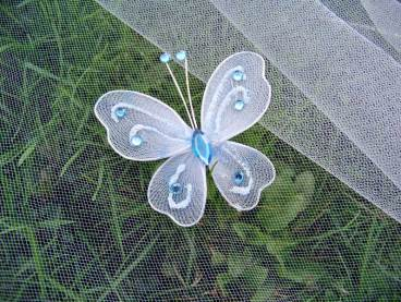 Blue butterfly with crystals