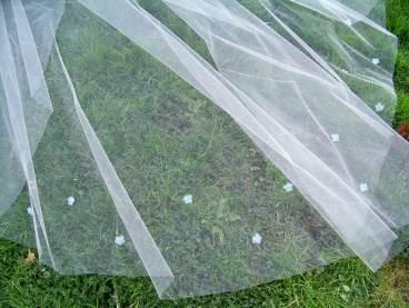 Wedding veil embellished with blue flowers