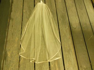 short sheer ivory veil champagne ribbon