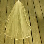 short sheer ivory veil champagne ribbon