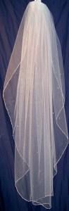 silver seed bead waterfall veil