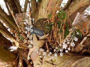 Full view of 1402H rose gold hair vine