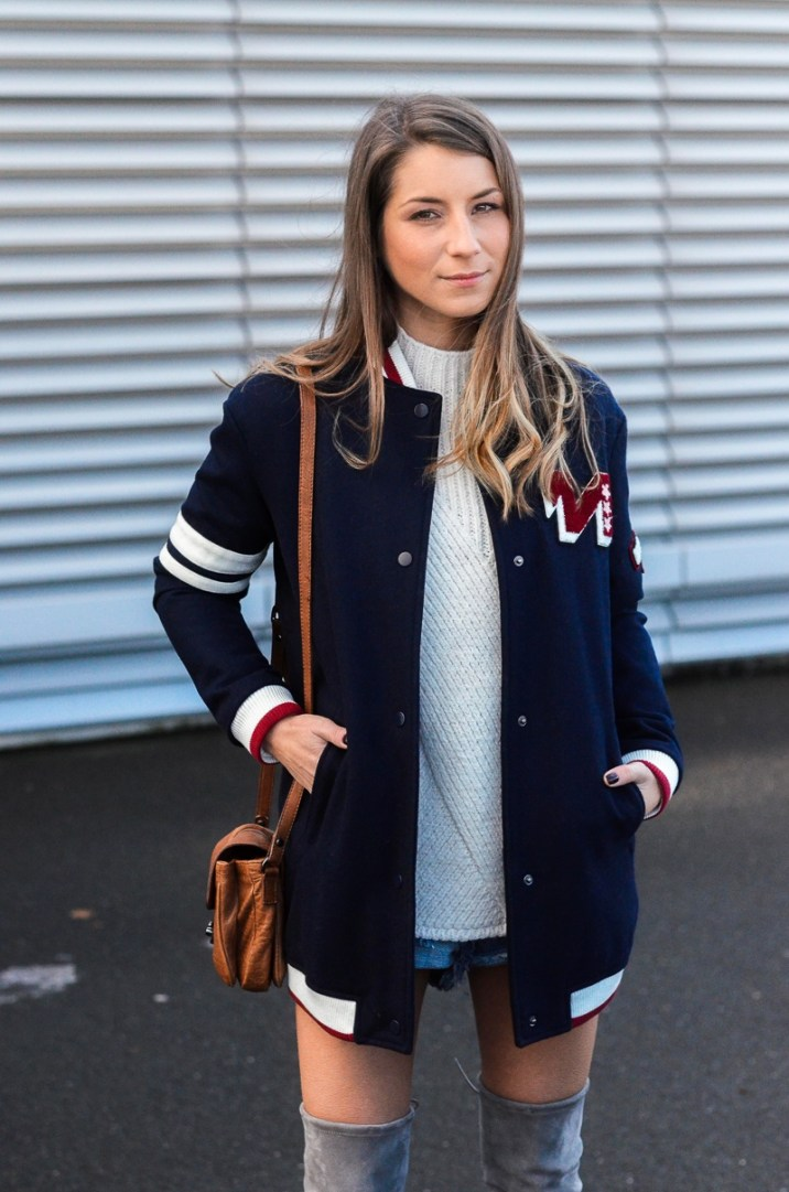 outfit college jacke overknee stiefel