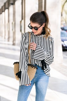 statement sleeves stripes top earrings zara jeans flats basket bag casual chic outfit modeblog