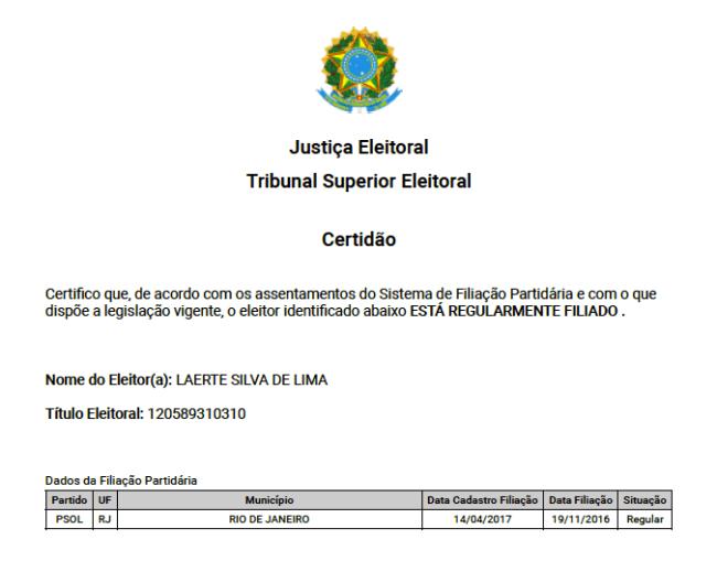 Reprodução da Certidão de Filiação Partidária de Laércio