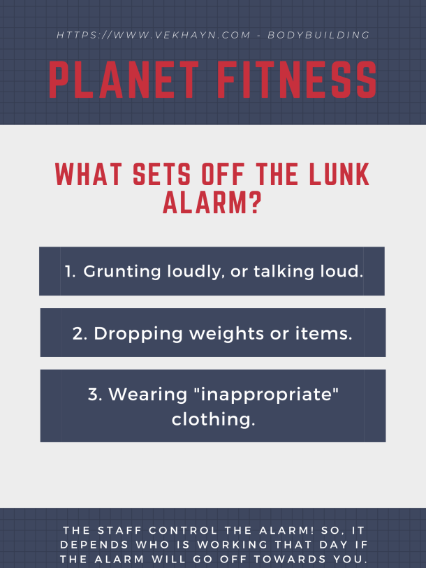 Here's a list of how you can set off the planet fitness lunk alarm: grunting loudly, dropping weights, inappropriate clothing. [https://www.vekhayn.com]