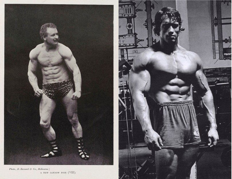 Eugen Sandow compared to Arnold Schwarzenegger. The eugen sandow diet is what obtained him part of his incredible physique.