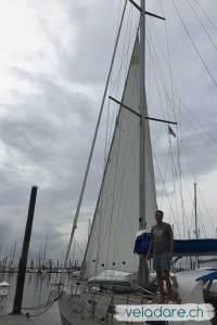 Unsere gekürzte Segel auf der neuen Rollanlage