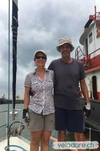 """Wir als Handliner auf dem Boot """"le Pukelko"""" für den Panama Canal"""