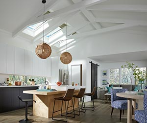 kitchen skylights white sets velux solar powered fresh air filled the with daylight and