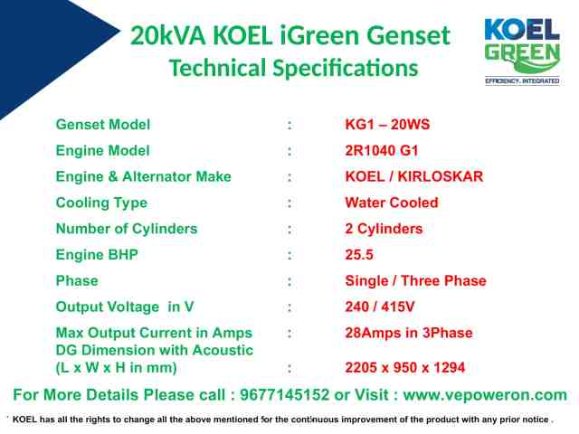 20kVA Genset Prices in Chennai