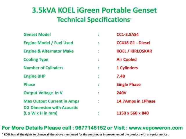 3 kVA Generator Prices in Chennai
