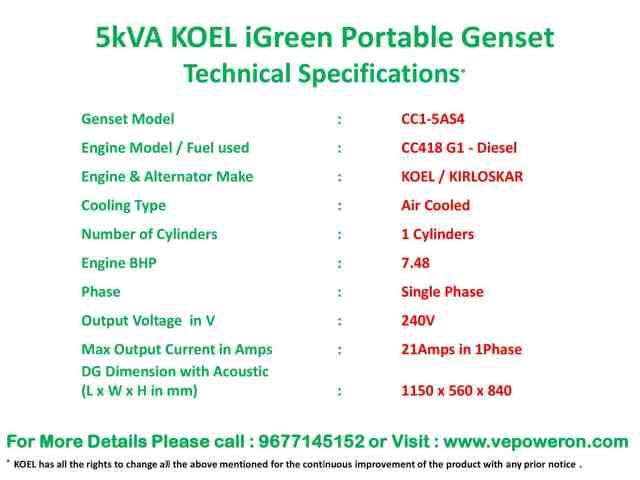 5kVA Genset Prices in Chennai