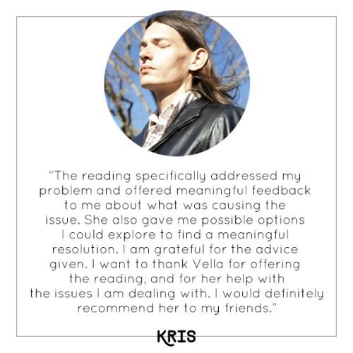 Kris's experience with Vella's mini tarot reading