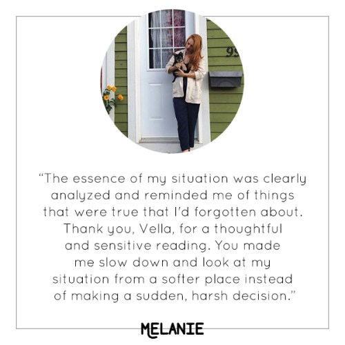 Melanie's experience with Vella's mini tarot reading