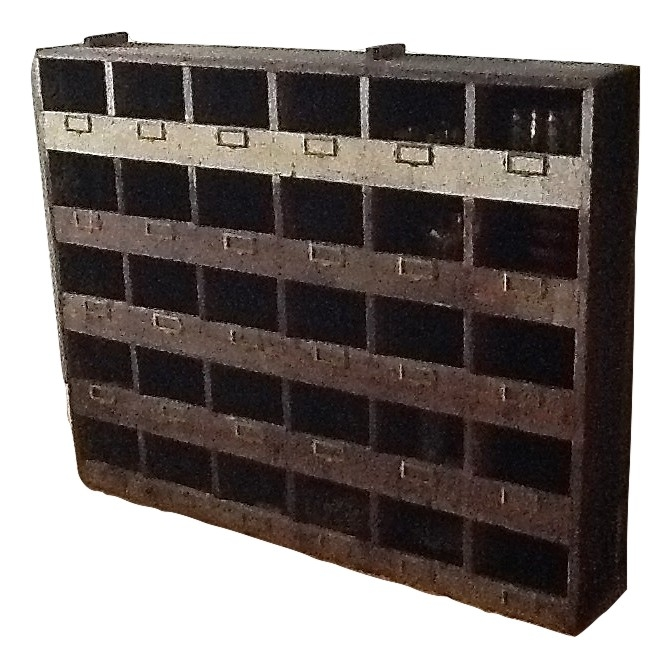 Garage Clothing In Nyc Vintage Industrial Wood Pigeon Hole Storage Shelves