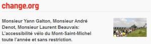 Pétition pour l'accessibilité vélo au Mont-Saint-Michel toute l'année et sans restriction.