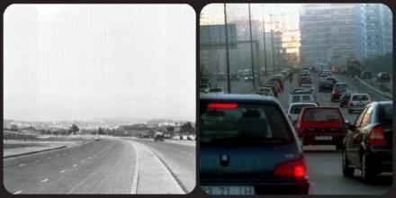 À esquerda, a 2ª Circular nos anos 60. À direita, a maravilha do progresso- a 2ª Circular nos dias de hoje.