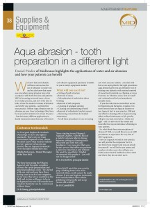 Minimally Invasive Dentistry article on benefits of Aqua Abrasion