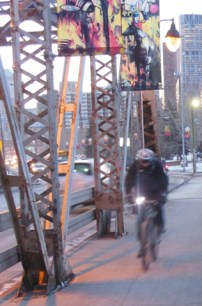 Calgary AB, 9th Ave Bridge, Winter Cyclist, the Commute Home ©Photograph by H-JEH Becker, 2012