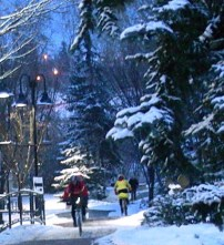 Calgary AB, Bow River Trail, Winter Cyclist, Commuting Home in the Dark ©Photograph by H-JEH Becker, 2012