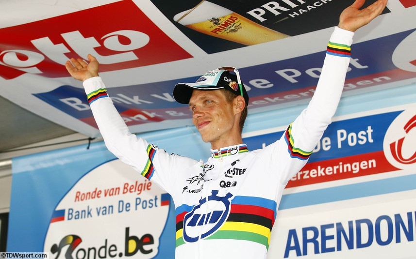 He's back and he's won stage four of the Tour of Belgium (image courtesy of Omega Pharma Quickstep)