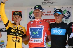 Route du Sud 2011 podium l to r Davide Rebellin, Vasiliy Kiryienka, Peter Kennaugh (imagoe courtesy of official race website)